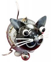Small Metal Hanging Ornament With Bell - Cat