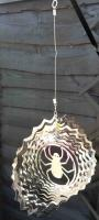 Stainless Steel Wind Spinner - Spider Web Design