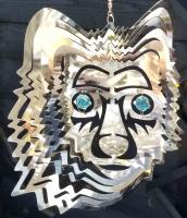 Stainless Steel Wind Spinner - Wolf Face Design