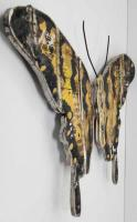 Wood Wall Art - Shabby Chic Yellow Butterfly