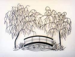 Metal Wall Art - Weeping Willow Bridge Scene