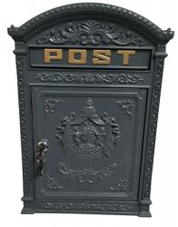 Cast Metal Wall Mounted Post Box - Grey