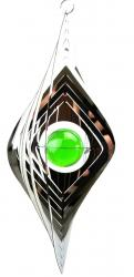 Large Rhombus Stainless Steel Wind Spinner With Crystal Ball