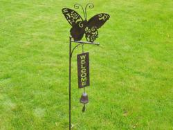 Metal Garden Welcome Bell Stake - Butterfly
