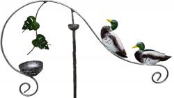 Metal Garden Wind Vane Spinner - Duck Family