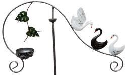 Metal Garden Wind Vane Spinner - Swan Family