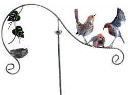 Metal Garden Wind Vane Spinner - Robin Bird Nest Design