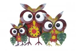 Metal Sculpture - Owl Family Ornament