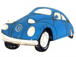 Metal Wall Art - Blue VW Beetle