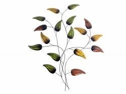 Metal Wall Art - Burnt Teardrop Leaf Branch
