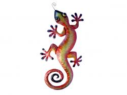 Metal Wall Art - Large Red Yellow Gecko Wall Decor