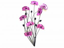 Metal Wall Art - Purple Pink Poppy Flower Bunch