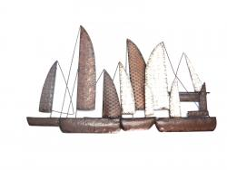 Metal Wall Art - Rustic Fleet Of Sailing Boats