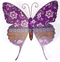Metal Wall Art - Shabby Chic Purple Print Butterfly