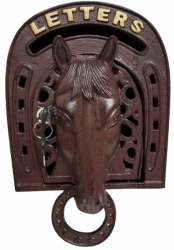 Metal Wall Mounted Horse Post Box - Brown