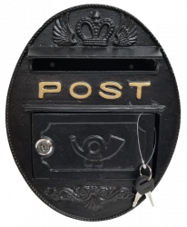 Metal Wall Mounted Oval Post Box - Black