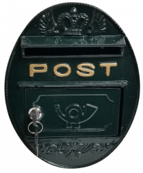 Metal Wall Mounted Oval Post Box - Green