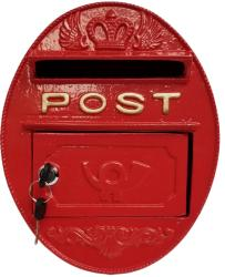 Metal Wall Mounted Oval Post Box - Red