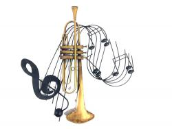 Music Metal Wall Art - Trumpet Notes Music Swirl