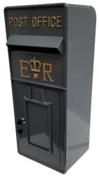 Replica Wall Mounted Royal Mail ER Post Box Or Letter Box - Grey