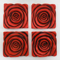 Resin Wall Art - Red Rose In Bloom 4 Panel Set