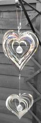 Stainless Steel Double Heart Wind Spinner
