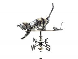 Stainless Steel Garden Weathervane - Cat and Mouse Design