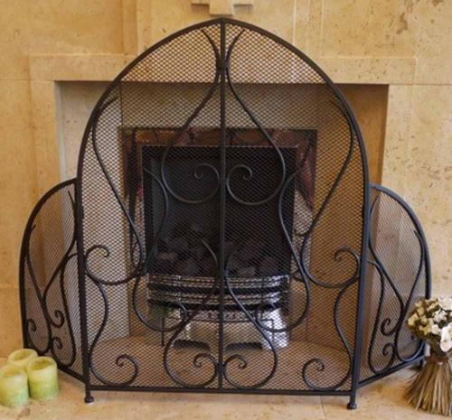 Decorative Bishop Mitre 3 Fold Fire Screen Spark Guard