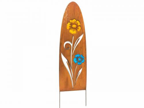 Metal Garden Panel - Rusty Daisy Flowers