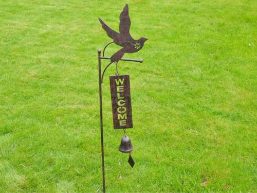 Metal Garden Welcome Bell Stake - Bird