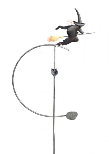 Metal Garden Wind Vane Rocker - Witch