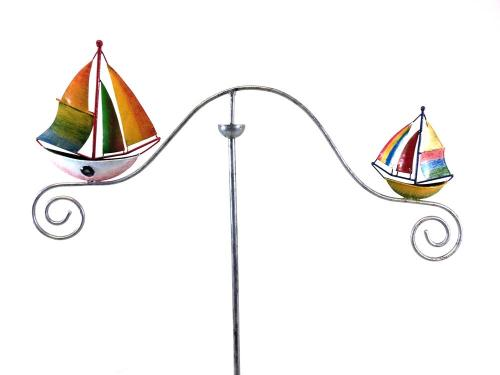 Metal Garden Wind Vane Spinner - Colour Sailing Boats Ship Design