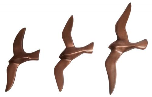 Metal Wall Art - Set of 3 Copper Flying Seagull Birds
