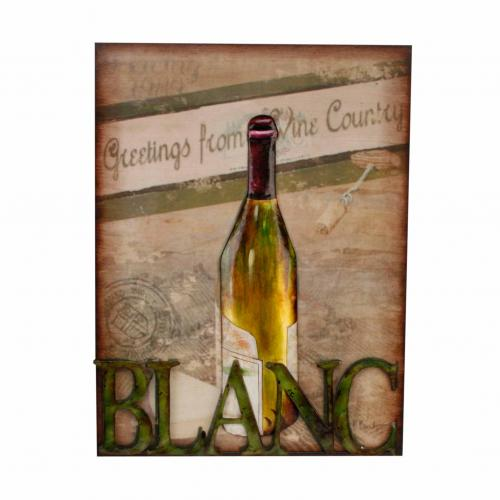Metal Wall Art - Blanc White Wine Scene
