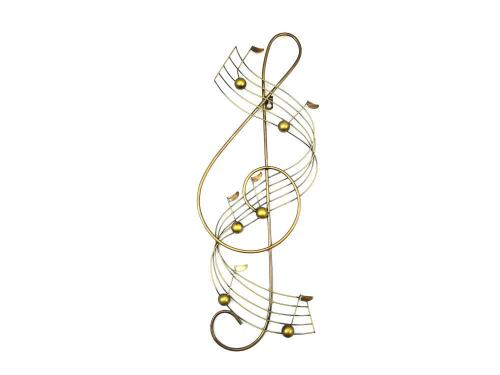 Metal Wall Art - Bronze Treble Clef Musical Note Score