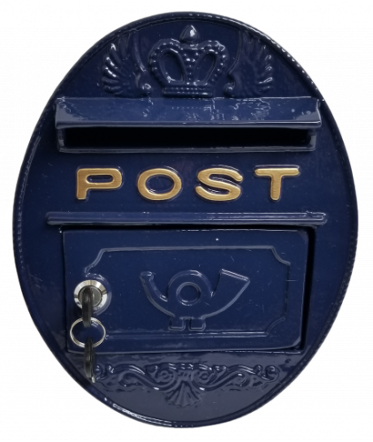 Metal Wall Mounted Oval Post Box - Blue
