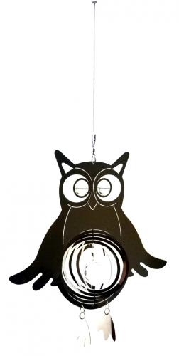 Owl Stainless Steel Wind Spinner