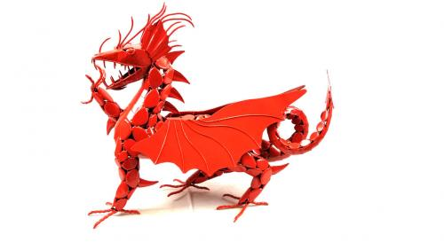 Red Intricate Metal Welsh Dragon Statue