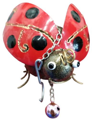 Small Metal Hanging Ornament With Bell - Ladybird