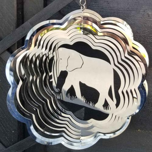 Stainless Steel Elephant Wind Spinner