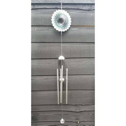 Stainless Steel Wind Spinner - Green Wave Colour Wind Chime Design