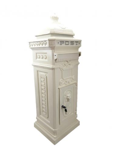 Vintage Ivory Cream Grand Pillar Post Box