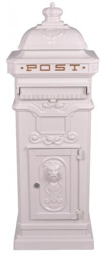 Vintage White Grand Pillar Post Box