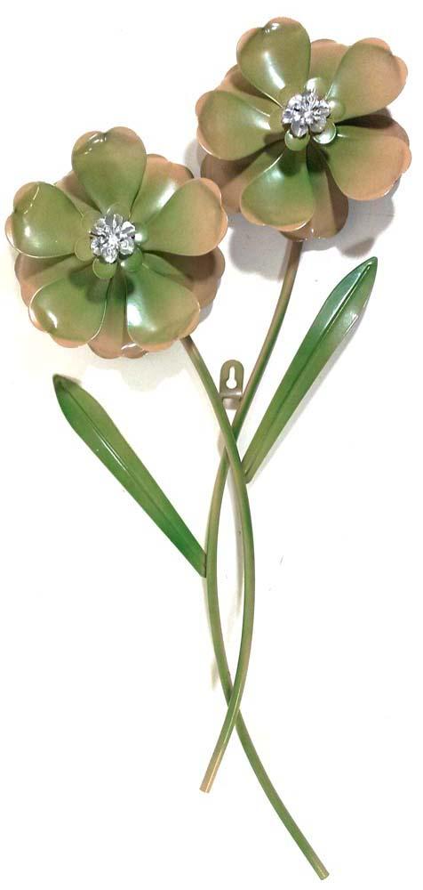 Metal Wall Art Green Flower Pair