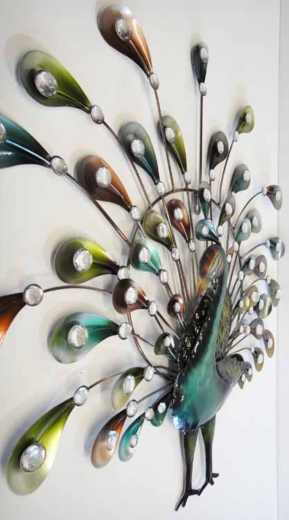 Wall Art - Metal Wall Art Picture - Jewel Peacock Bird ...